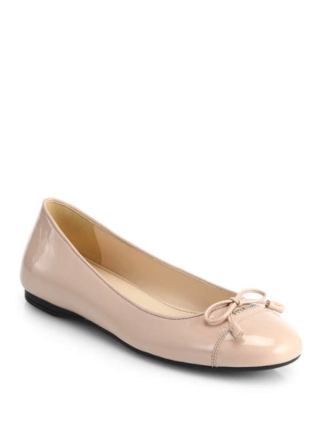 patent leather ballet flats prada patent leather bow ballet flats in lyst