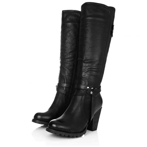 leather knee high boots for buy august block heel knee high biker boots black leather style