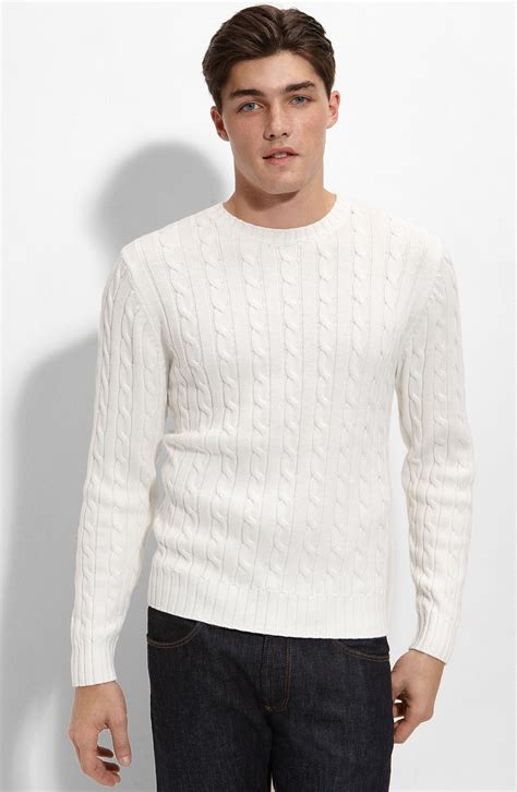 mens white cable knit sweater 1901 athletic fit cable knit cotton sweater in