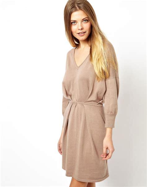 v neck knitted dress asos asos v neck pleat waist knitted dress at asos