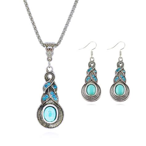Jewellery Set Turquoise Tibetan Silver Necklace And