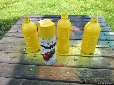 spray painting plastic diy vases from plastic water bottles trashy or