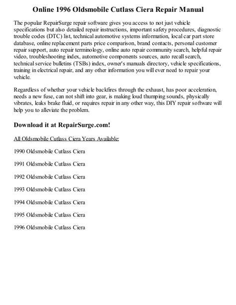 1996 oldsmobile cutlass ciera repair manual online
