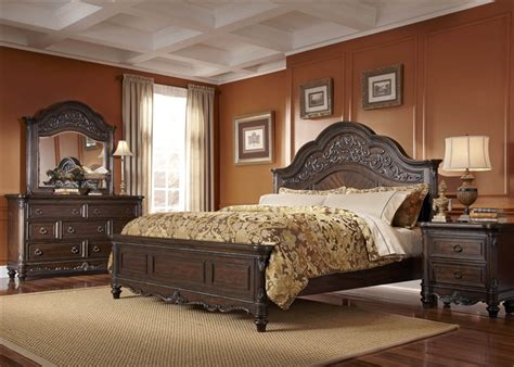 liberty furniture bedroom set clayton manor 6 bedroom set in chestnut finish by