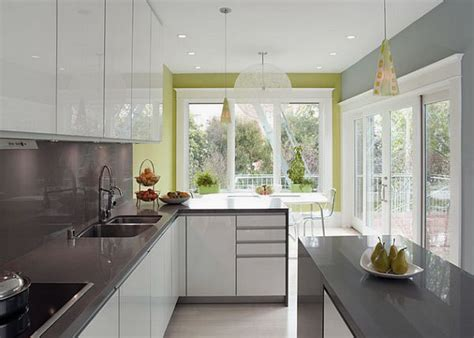 white and grey kitchen designs modern white and grey kitchen design with green accent