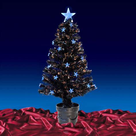 black mini tree black fibre optic artificial indoor tree blue