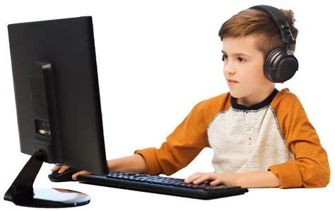 on computer on computer boy on computer with headset digital