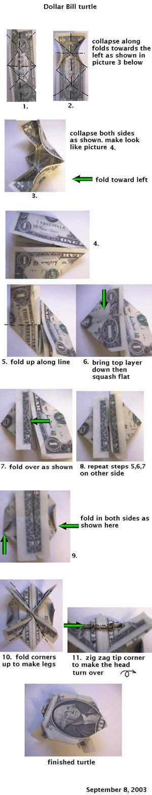 turtle dollar origami how to make a turtle out of a dollar bill with pictures