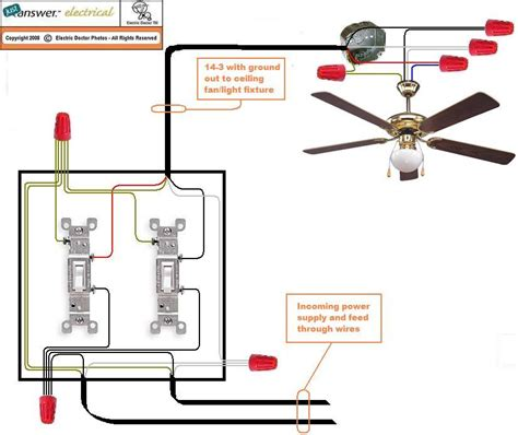 ceiling fan wiring with light wiring a ceiling fan with two switches