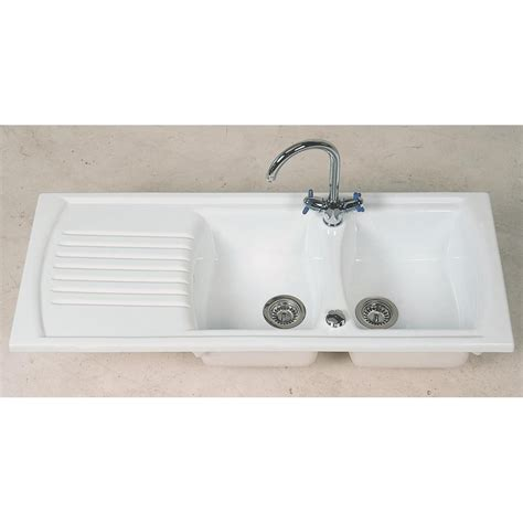ceramic sinks kitchen clearwater sonnet bowl and drainer white ceramic