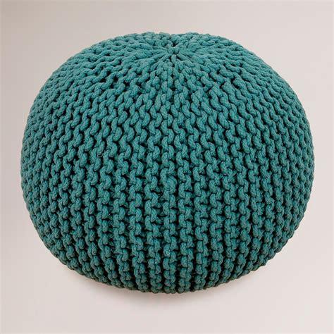 knitted poofs mallard green knitted pouf world market