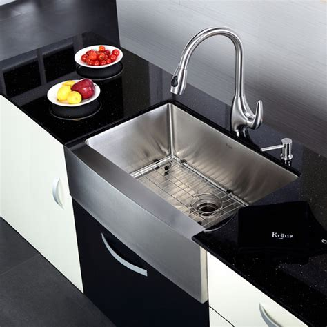 new kitchen sinks kraus khf200 30 kpf2170 sd20 30 inch farmhouse sink and