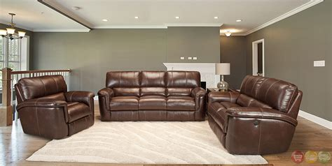 recliner leather sofa set living hitchcock cigar brown leather power
