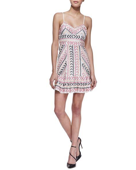 us beaded satin sleeveless dress casey sleeveless beaded silk dress in pink lyst