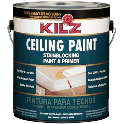 home depot paint no primer kilz white flat 1 gal interior stainblocking ceiling