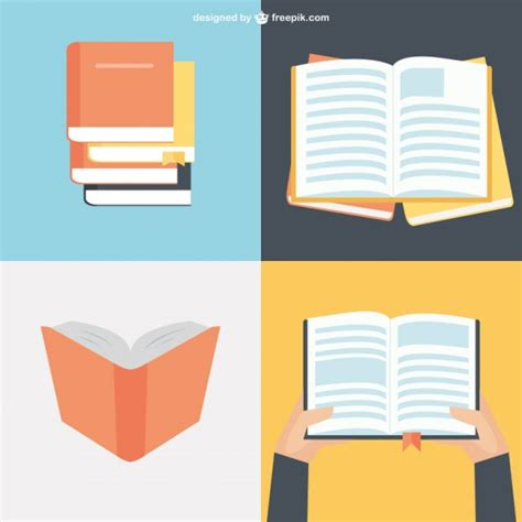book free book collection in flat design vector free