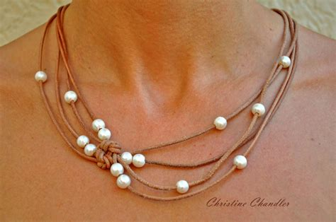 leather jewelry pearl and leather jewelry reef knot necklace pearl