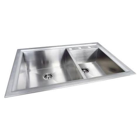 glacier bay stainless steel kitchen sink glacier bay dual mount stainless steel 33 in 3