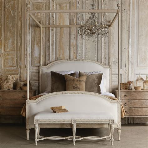 bedroom furniture canopy bed four poster canopy wood bed frame with antique white four