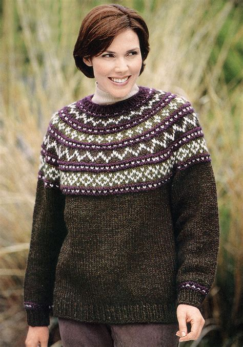 knit sweater pattern yoke sweater knit in brand wool ease chunky 1196a