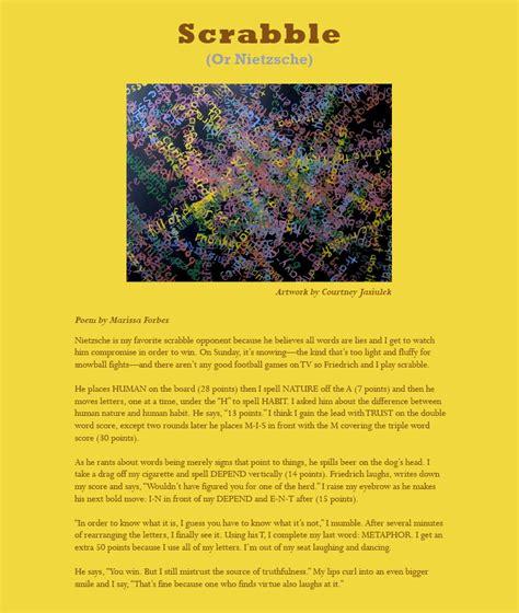 scrabble poem scrabble or nietzsche poem by marissa forbes by