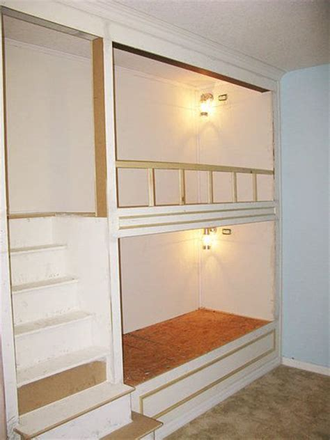 how to make built in bunk beds link to construction plans steps for built in bunk beds