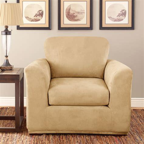 sure fit stretch suede 2 piece chair slipcover walmart com