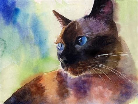 Traditional Applehead Siamese Cat Print Of My Watercolor