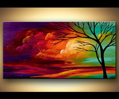 acrylic paint or watercolor landscape tree painting original abstract contemporary modern