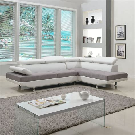 white sectional living room 2 modern contemporary white faux leather sectional