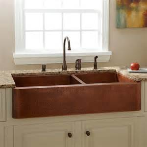 kitchens with copper sinks 33 quot reena nickel plated hammered copper farmhouse sink