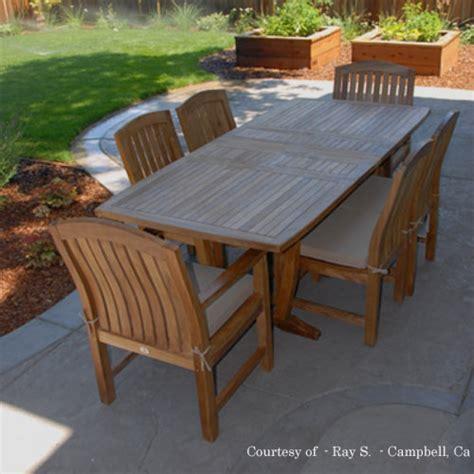 teak patio dining sets teak outdoor patio dining set agean table zaire chair