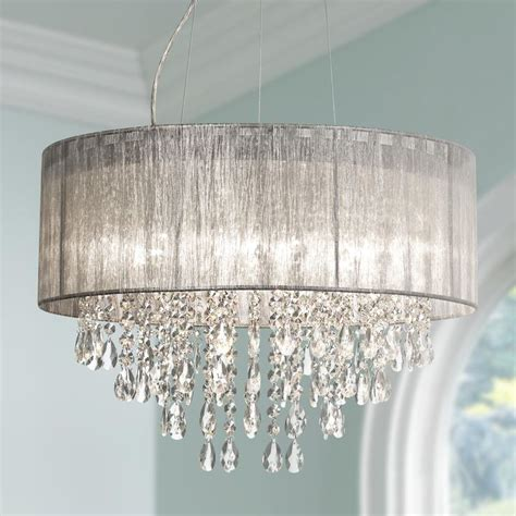 silver and chandeliers possini metairie 20 quot w silver fabric