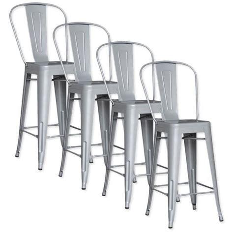 lot de 4 chaises de bar m 201 tal loft laqu 201 gris achat vente tabouret de bar pas cher couleur