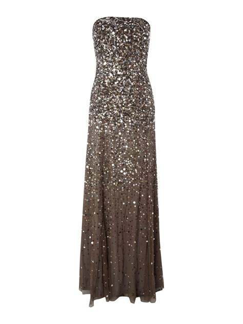 Papell Strapless Beaded Dress In Gray Grey