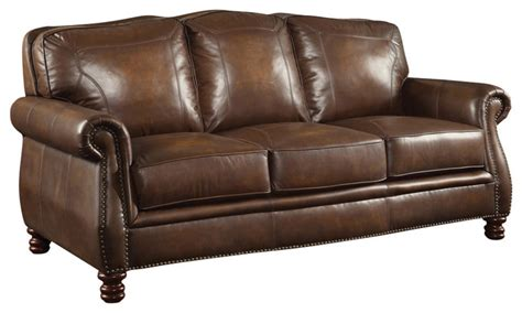 traditional leather sofas brown leather sofa with nailheads traditional sofas