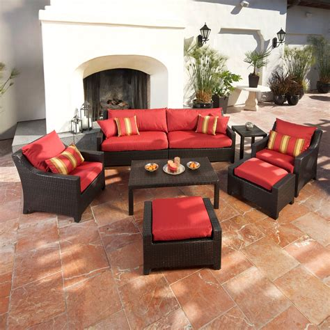 conversation sets patio furniture rst outdoor cantina 8 sofa with club chair and
