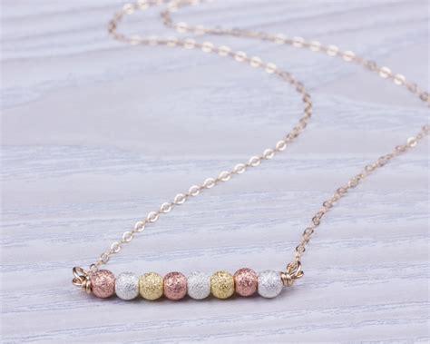gold beaded necklace gold bead necklace beaded necklace gold filled