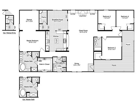 5 bedroom house plans with wrap around porch the evolution vr41764c manufactured home floor plan or