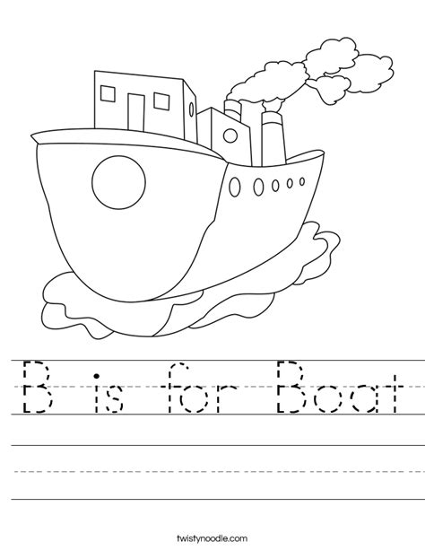 for printables b is for boat worksheet twisty noodle