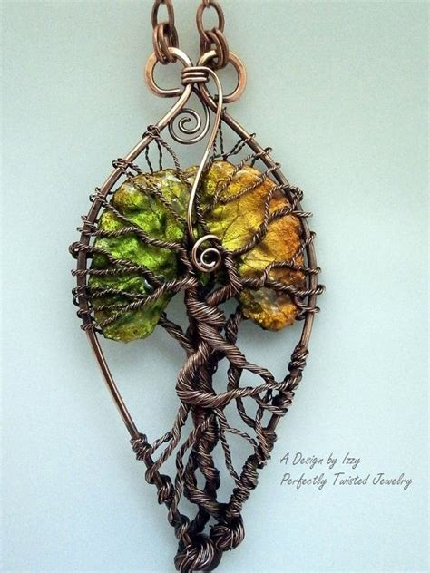 how to make a wire jewelry tree wire wrapped tree of pendant necklace lacquered leaf