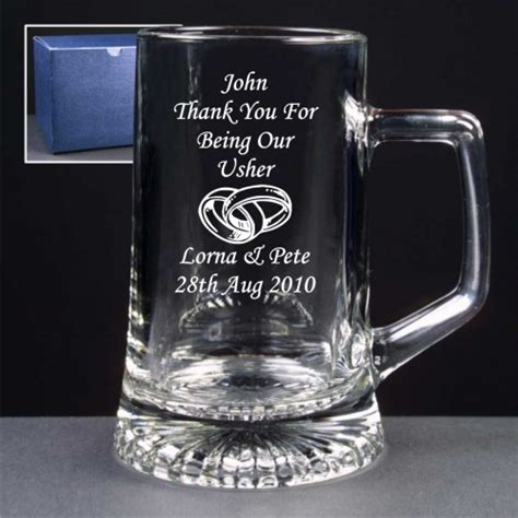 engraved gifts engraved glass tankard usher gifts
