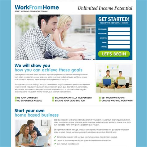 unlimited money on design home work from home landing page design template exle to