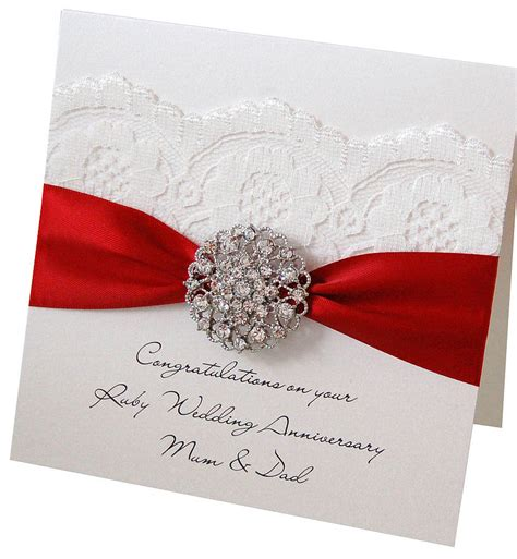 make wedding anniversary card opulence ruby wedding anniversary card by made with