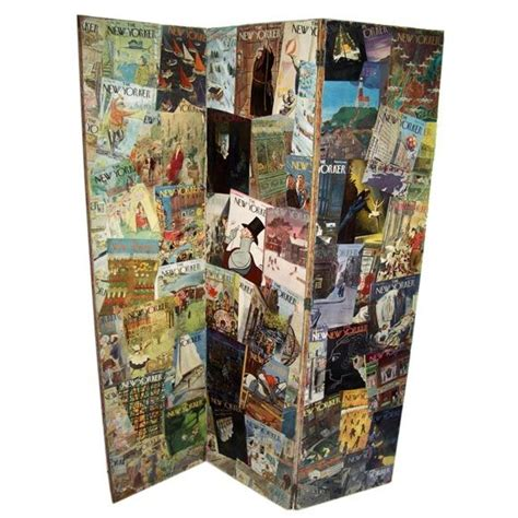 modern decoupage decoupage folding screen of new yorker magazine covers at
