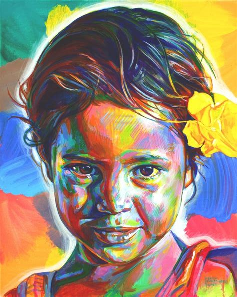 acrylic painting person artist stephen travelled around the world to paint