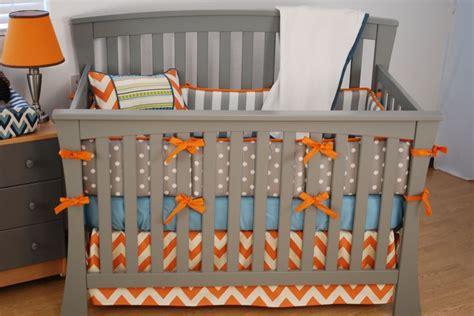 blue and orange crib bedding orange chevron crib bedding with grey and aqua fabrics