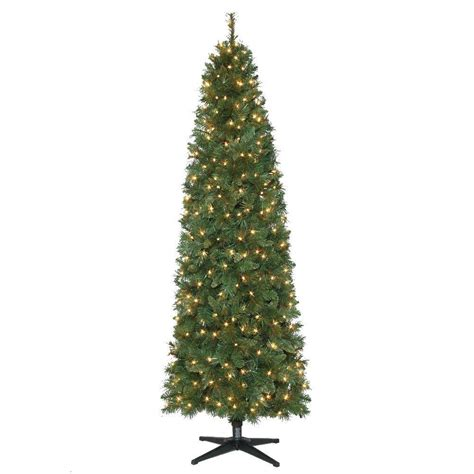led pencil tree 7 ft pre lit led wesley pine artificial pencil