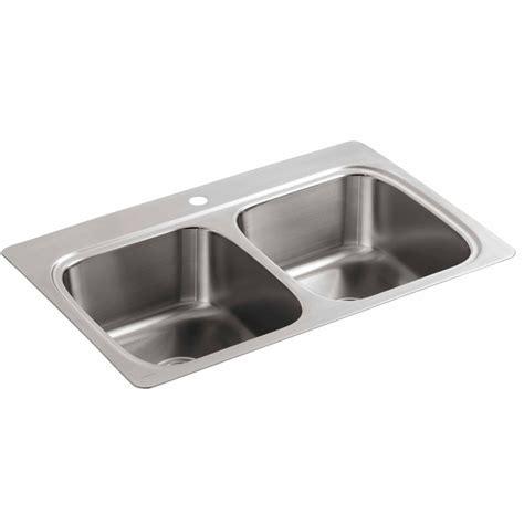 kohler stainless kitchen sink shop kohler 22 in x 33 in basin stainless steel