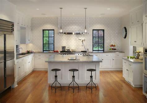 u shaped kitchen design with island subway tiled kitchen transitional kitchen